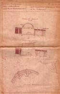2 Grands Plans D'Architecture Russe - Pont & Tunnel, Mine ? à Identifier - 80 X 50 Cm & 81 X 80 Cm. Construction - Public Works