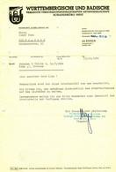 """ESSEN 1964 Rechnung """" Württembergische Und Badische Vereinigte Versicherungen AG Filiale West """" - Banco & Caja De Ahorros"""