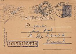 93079- KING MICHAEL POSTCARD STATIONERY, WW2, CENSORED SUCEAVA NR 4, 1943, ROMANIA - 2. Weltkrieg (Briefe)