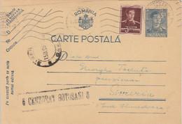 93080- KING MICHAEL POSTCARD STATIONERY, WW2, CENSORED BOTOSANI NR 6, STAMP, 1944, ROMANIA - 2. Weltkrieg (Briefe)
