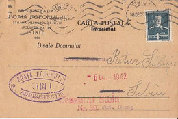 93081- KING MICHAEL STAMP ON POSTCARD, NEWSPAPER HEADER, CENZORED SIBIU NR 30, 1942, ROMANIA - 2. Weltkrieg (Briefe)
