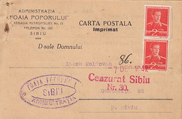 93082- KING MICHAEL STAMP ON POSTCARD, NEWSPAPER HEADER, CENZORED SIBIU NR 30, 1942, ROMANIA - 2. Weltkrieg (Briefe)