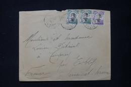 INDOCHINE - Enveloppe Du Tonkin Pour La France En 1921, Affranchissement Surchargés - L 84872 - Covers & Documents