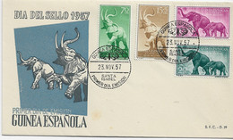 3578   FDC Guinea Española , Santa Isabel 1957 Elefantes - Guinea Spagnola