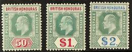 1904-07 50c, $1 And $2, SG 90/92, Fine Mint. (3 Stamps) For More Images, Please Visit Http://www.sandafayre.com/itemdeta - British Honduras (...-1970)