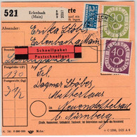 BRD - 90+40 Pfg. Posthorn Schnellpaket-Paketkarte Erlenbach Neuendettelsau 1954 - Covers