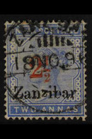 "1895-98 PROVISIONAL ""2½"" On 2a Pale Blue, SG 27, Fine Used. For More Images, Please Visit Http://www.sandafayre.com/item - Zanzibar (...-1963)"