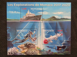MONACO 2017 - BLOC 2 TIMBRES ** - LES EXPLORATIONS DE MONACO 2017-2020 - Unused Stamps
