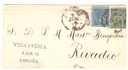 Spain 1876, Letter Sent From La Coruña To Rivadeo. With War Tax - Cartas