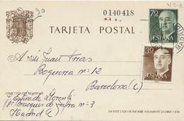 38923. Entero Postal MADRID, Suc, 21, Caudillo 70 Cts A Barcelona, Edifil Num 90 - 1931-....