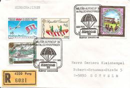 AUSTRIA - 1989 PERG Coppa Delle Alpi Di Paracadutismo Militare (paracadute) + Ricevuta Raccomandata Con Annullo - 4021 - Parachutisme