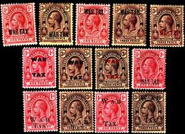 Turks & Caicos Islands 1917-19 SG 140-153 Set Of 13  Mult Crown CA Perf 14  Mint  WAR TAX - Andere