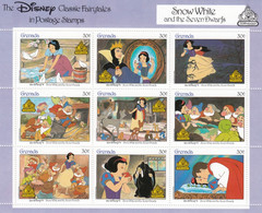 Grenada 1987 Souvenir Sheet Of 9, Snow White Disney Story, MNH Sc#1540 Mi#1670-1684KB - Grenada (1974-...)
