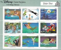 Grenada 1987 Souvenir Sheet Of 9, Peter Pan Disney Story, MNH Sc#1545 Mi#1645-1653KB - Grenada (1974-...)