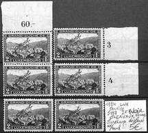 [854178]TB//**/Mnh-Luxembourg 1924 - S157, 2f Noir, CLERVAUX, Nuances, Surcharge Déplacée - Dienst
