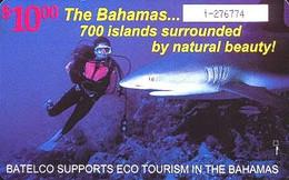 BAHAMAS : BAH09 $10 Diver And Shark USED - Bahamas