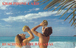 BAHAMAS : BAH07 $20 BEACHING IN THE BAHAMAS (SILVER HANDWRITTEN CT USED - Bahamas