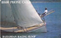 BAHAMAS : BAH03 $10 BAHAMIAN RACING SLOOP (handwritten Ctrl) USED - Bahamas