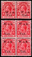 "Turks & Caicos Islands 1919 SG 152,154  1d Red  Mult Crown CA Perf 14  Mint  WAR TAX Broken ""W"" - Andere"