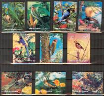 {UU025} Umm Al Qiwain Birds Set Of 10 3D MNH** Variety ! 2 Stamps Text Shifted Sideways - Umm Al-Qaiwain