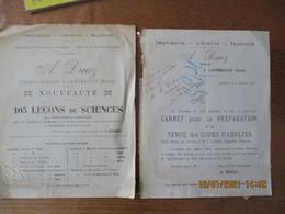LANDRECIES  A.DRUEZ EDITEUR IMPRIMERIE LIBRAIRIE PAPETERIE COURRIER DU 8 NOVEMBRE 1913 ET NOUVEAUTE 105 LECONS DE SCIENC - 1900 – 1949