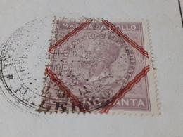 MARCA DA BOLLO 50 CENTESIMI VITTORIO EMANUELE RE D'ITALIA 1876 - Fiscaux