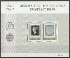 Norwegen 1990 150 Jahre Briefmarken Penny Black Block 13 Postfrisch (C25945) - Blocks & Kleinbögen