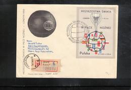 Poland / Polska 1966 World Football Cup England Block Interesting Registered Letter FDC - 1966 – Inglaterra