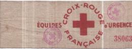 Guerre 1939-1945 CROIX-ROUGE FRANÇAISE - Brassard Tissu épais Usagé ÉQUIPES D'URGENCE - (37,5 Cm) - War 1939-45