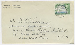 BERMUDAS 7 1/2C SOLO LETTRE COVER COLONY THEATRES HAMILTON 1945 TO USA - Andere