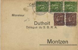 Carte Postale M Duthoit Délégué Du S B R A  Montzen + Timbres 100X3 + 25 X2 RV  Facture - Otros