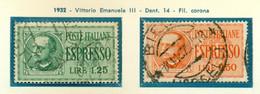 V9749 ITALIA REGNO 1932 Espressi, Sass. 15, 16, Serie Complete, Usati,  Buone Condizioni - Used