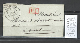 France - Lettre  - BENEVENT L'Abbaye - Creuse - Port Payé - 1838 - 1801-1848: Precursori XIX