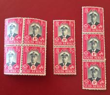 RSA Georg VI Viererblock 2er + 3er Streifen 1947 Michel 181 + 182 ** - Nuovi