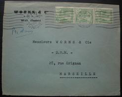 Sfax Tunisie 1951 Worms & Cie Lettre Pour Marseille Par Avion Avec Une Bande De 3 Timbres à 5 Francs - Covers & Documents