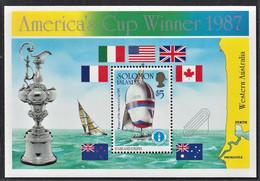 ISOLE SALOMONE SOLOMON ISLANDS AMERICA'S CUP WINNER 1987 MS MNH** - Solomoneilanden (1978-...)