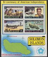 ISOLE SALOMONE SOLOMON ISLANDS 1976 200° AMERICAN INDEPENDENCE MS MNH** - Solomoneilanden (1978-...)