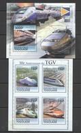 TG1106 2011 TOGO TOGOLAISE TRAINS ANNIVERSARY TGV 1KB+1BL MNH - Trains