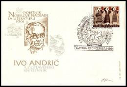 "Yugoslavia 1961, Illustrated Cover""Nobel Prize Winner Ivo Andrić 1961"" W./ Postmark ""Travnik"" - Covers & Documents"