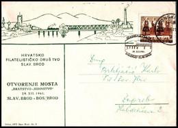 """Yugoslavia 1961, Illustrated Cover """"Opening Of The Bridge In Slavonski Brod In 1961""""  W./ Postmark """"Slavonski Brod"""" - Covers & Documents"""