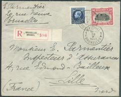 N°144-187 - 50 Cent. Em. 1915 + 50 Cent. Petit Montenez Obl. Sc BRUXELLES Sur Lettre Recommandée Du 26-V-1921 (1er Jour - 1915-1920 Albert I.