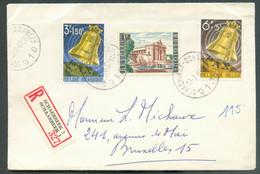 Série PAX 1963 (BOURDON) + 1Fr. YPRES Obl. Sc SCHAERBEEK 1 Sur Lettre Recommandée Du 13-3-1963 Vers Bruxelles. Superbe - Brieven En Documenten