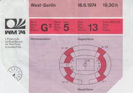 Fußball Weltmeisterschaft 1974 In Deutschland, ORIGINAL Eintrittskarte 1. Finalrunde, Berlin Olympiastadion - Soccer -01 - Toegangskaarten