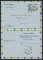 Ruanda-Urundi - Aérogramme N°1 4F Vert Expédié De Muhinga (1962) > Liège / Sans Texte. - Postwaardestukken