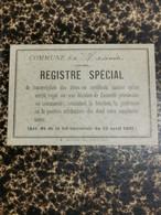 Livre, Commune De Heisnch. Registre Spécial 1940-1-2 - Arlon