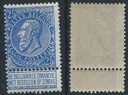TB. Nr 60 - 25 Centimes Leopold 2 Fine Barbe  Neufs Sans Charnière MNH - Couleur Bleu Intense - 1893-1900 Thin Beard
