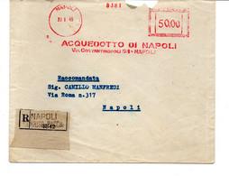 1949 EMA Affrancatura Meccanica Rossa Freistempel Napoli Aquedotto Di Napoli Scalpellata - Marcofilia - EMA ( Maquina De Huellas A Franquear)