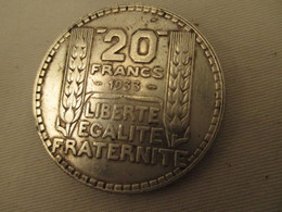 20 Francs 1933 Turin Argent  Superbe  état - L. 20 Franchi