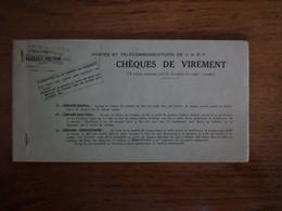 1960 - Chequier De Virement Postes Et Télécommunications De L'AOF - Cheques & Traverler's Cheques