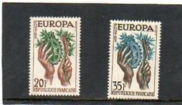 FRANCE   2 Timbres 20 F Et 35 F     1957  Y&T: 1122 Et 1123  Europa Neufs Sans Charnière - 1957